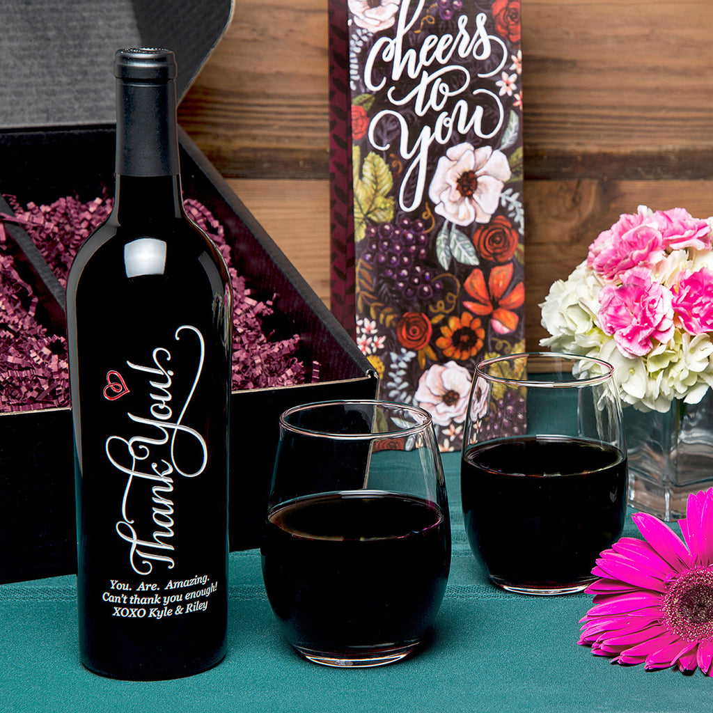 Thank You Etched Wine Gift Set