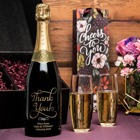 Joyful Thank You Etched Wine Gift Set