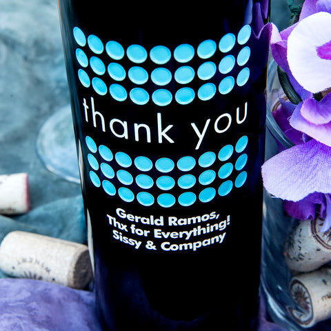 Thank you Dot Frame Etched Wine