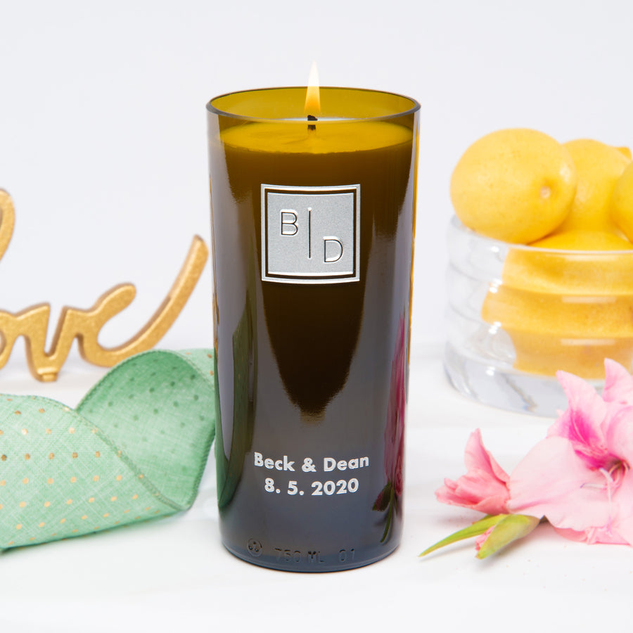 Transitional Monogram Personalized Candle