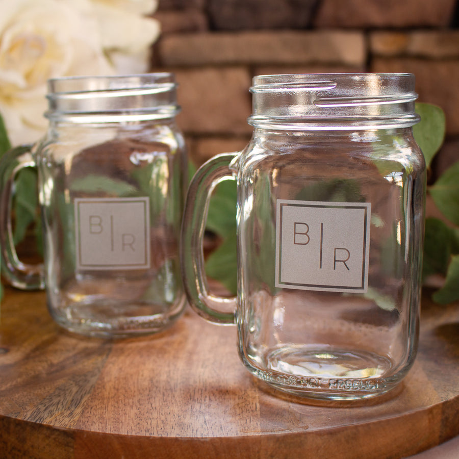 Transitional Monogram Mason Jar Mugs