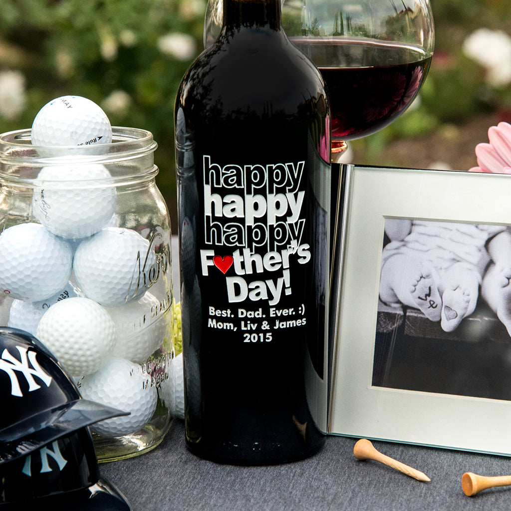 Triple Happy Father's Day w/ Heart Etched Wine