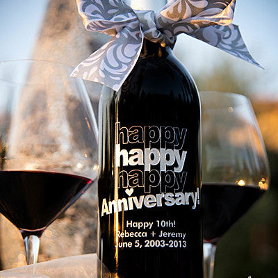 Triple Happy Anniversary Etched Wine