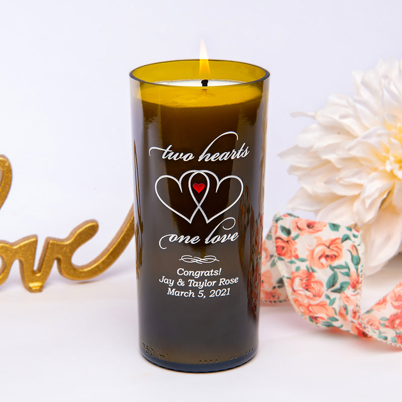 Two Hearts Personalized Candle