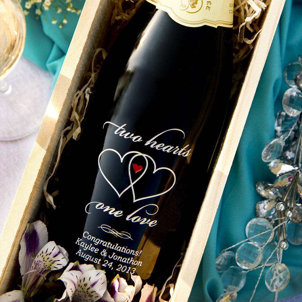 Two Hearts Etched Wine