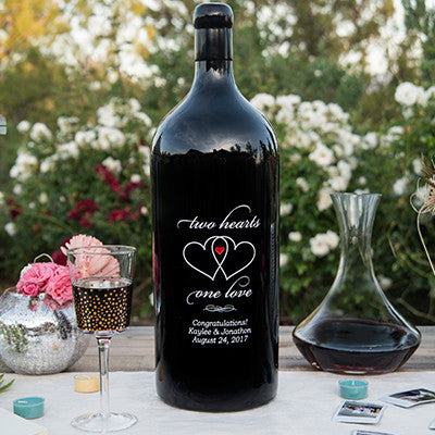 Two Hearts 3.0 Liter Bottle Etched Wine