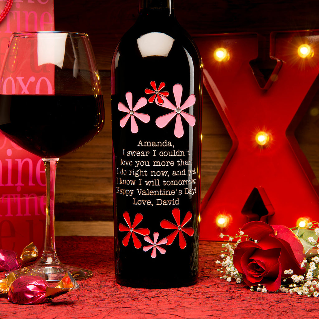 Valentine Flowers Etched Wine