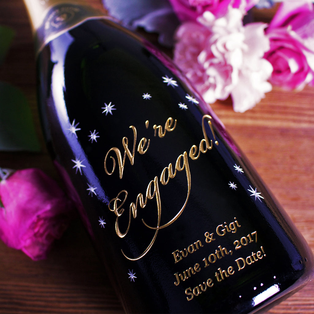 Classic We're Engaged Etched Wine