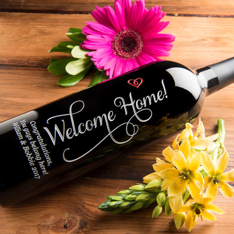 Welcome Home Etched Wine