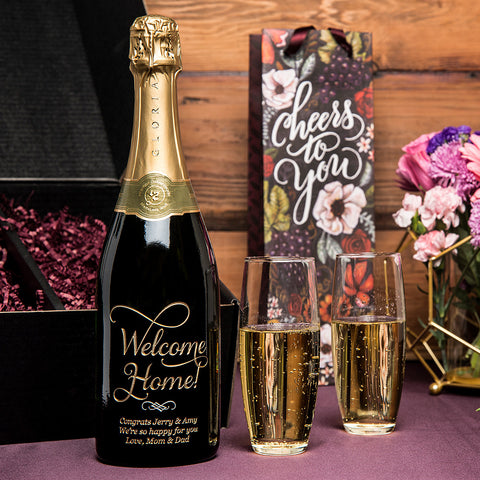 Joyful Welcome Home Etched Wine Gift Set