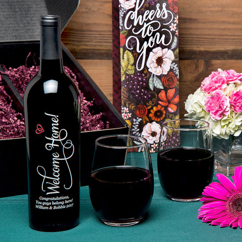 Welcome Home Etched Wine Gift Set