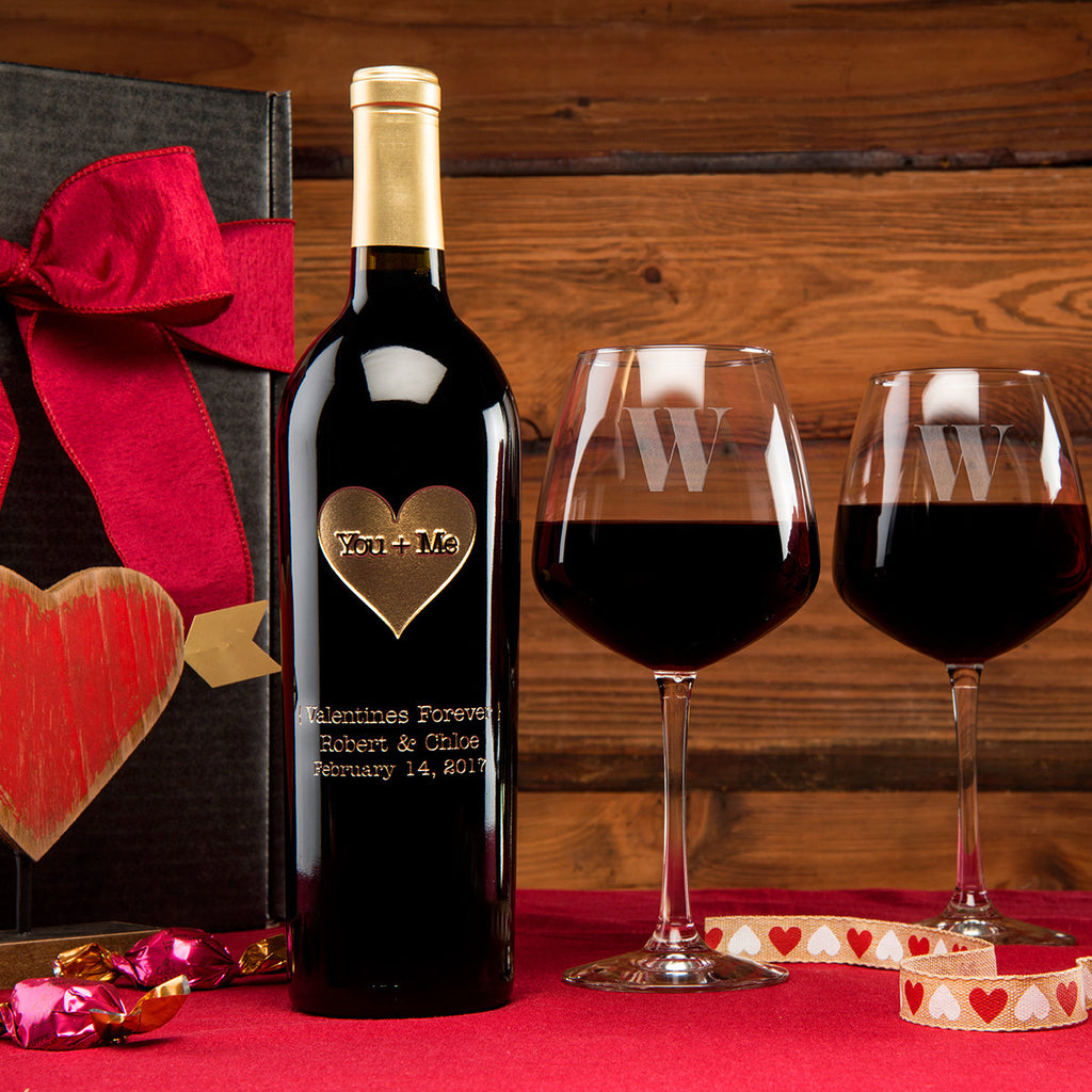 You + Me Etched Wine Gift Set