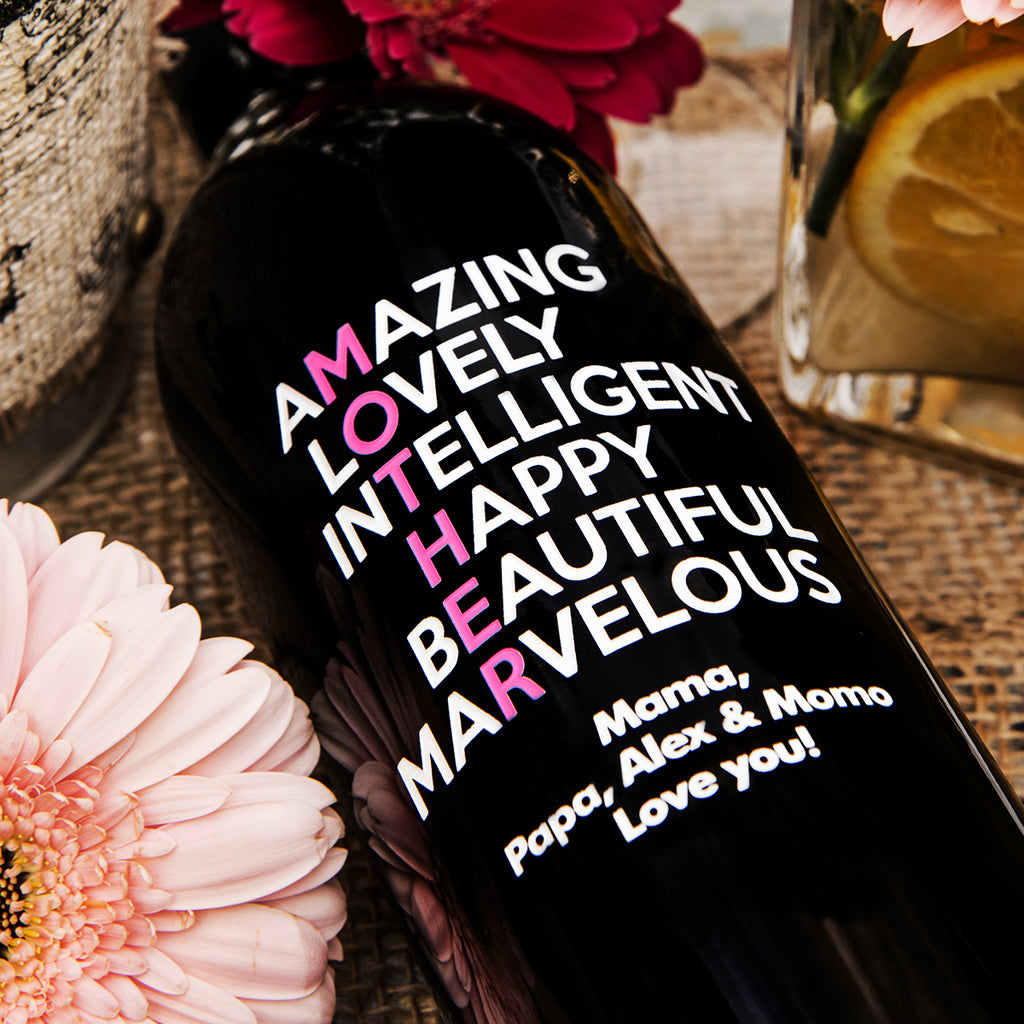 Amazing, Lovely Mother's Day Etched Wine