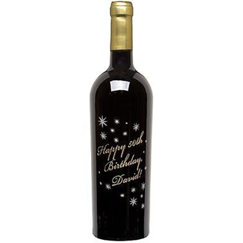 A Birthday in the Stars Etched Wine