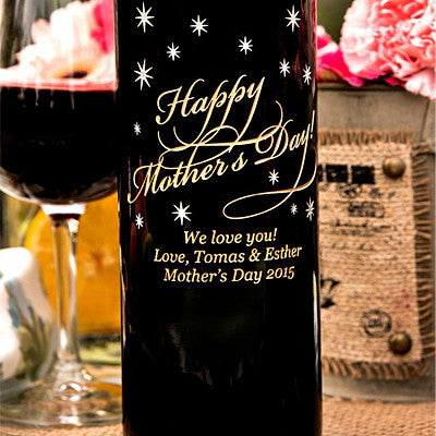 Classic Happy Mother's Day Etched Wine