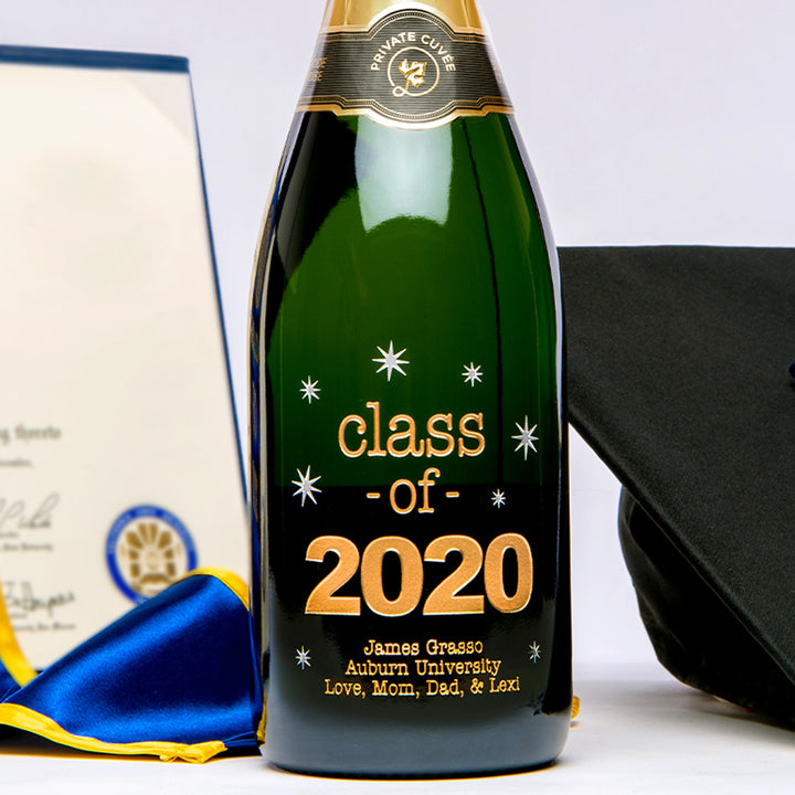 2020 custom etched engraved graduation  wine bottle