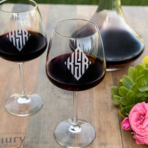 Diamond Monogram Wine Glass