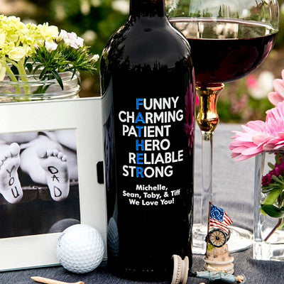 Funny, Charming Father's Day Etched Wine