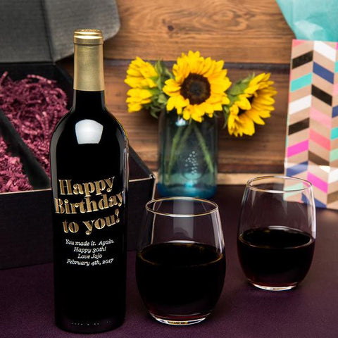 Happy Birthday to You Etched Wine Gift Set