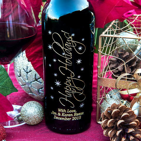 Graceful Happy Holidays Etched Wine