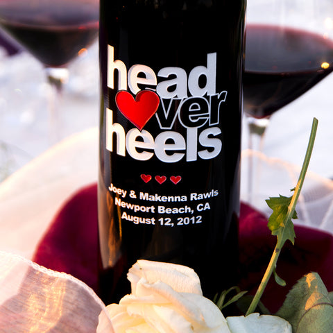 Head Over Heels Etched Wine