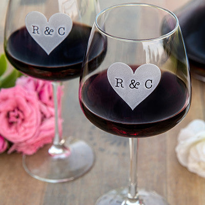 Heart Monogram Wine Glass