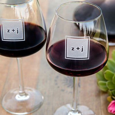 Modern Monogram Wine Glass