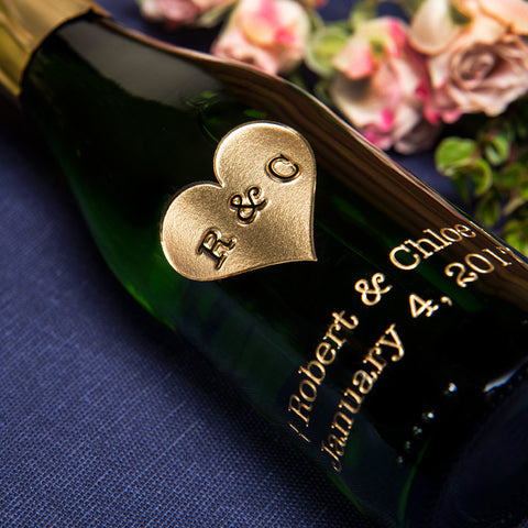 Heart Monogram Etched Favor / 6 btl set