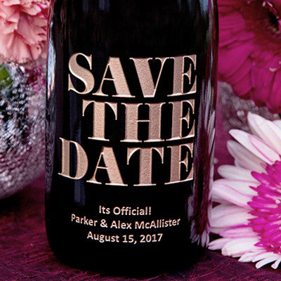 Bold Save the Date Etched Wine