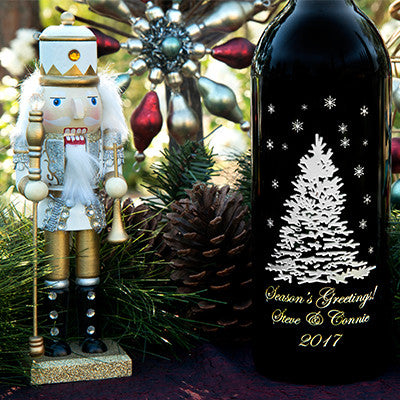 Shimmering Tree 3.0 Liter Bottle Etched Wine