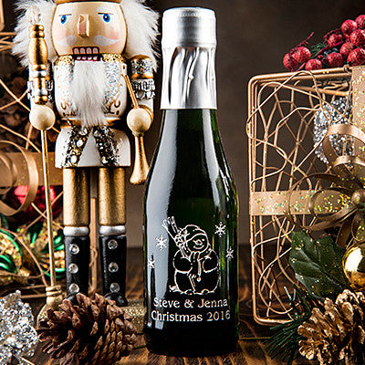 Frosty Greetings Etched Favor / 6 btl set