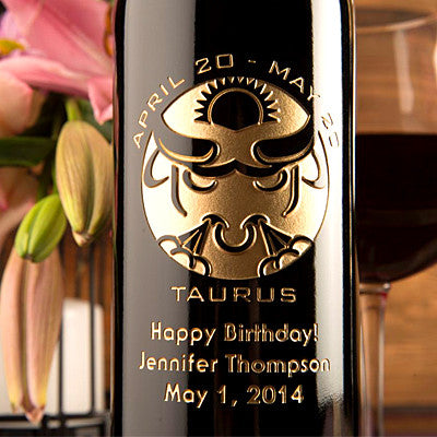 Taurus Birthday Etched Wine