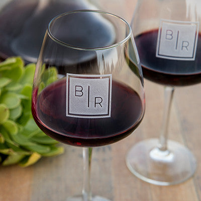Transitional Monogram Wine Glass