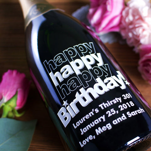Triple Happy Birthday! Etched Wine