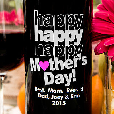 Triple Happy Mother's Day Etched Wine