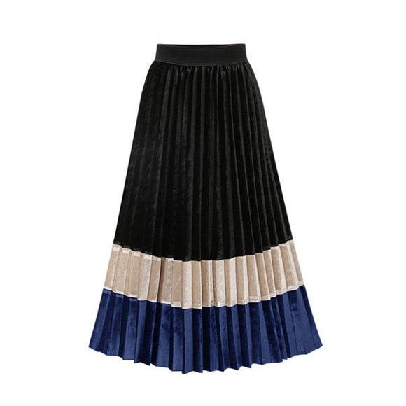 Autumn Coloured Velvet Pleated Skirt