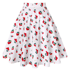 Cherry Floral Print Casual Skirt