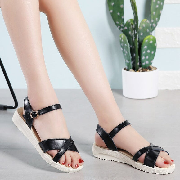 Rome Style round-Toe Buckle Sandals
