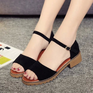 Korean-style Square Heel Sandals