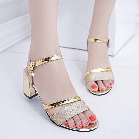 Chunky Heel Solid Color A- line Sandals