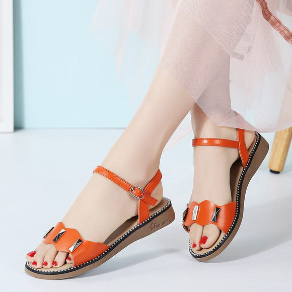Genuine Leather Flat Buckle Sandals