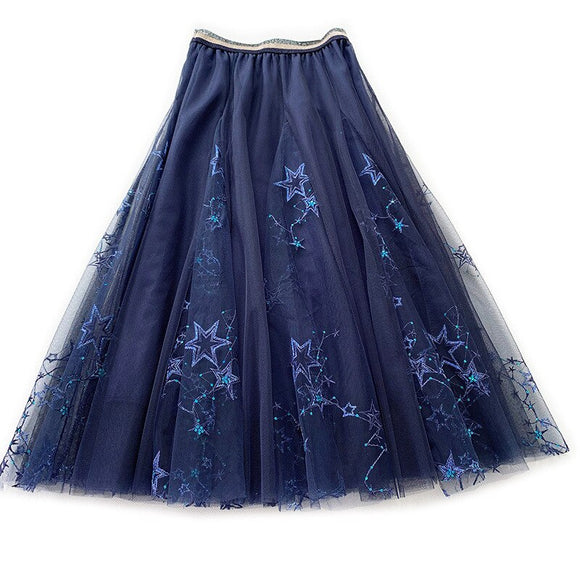Chic Embroidery Midi Tulle Skirt