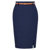 Womens Solid Color Bodycon Skirt