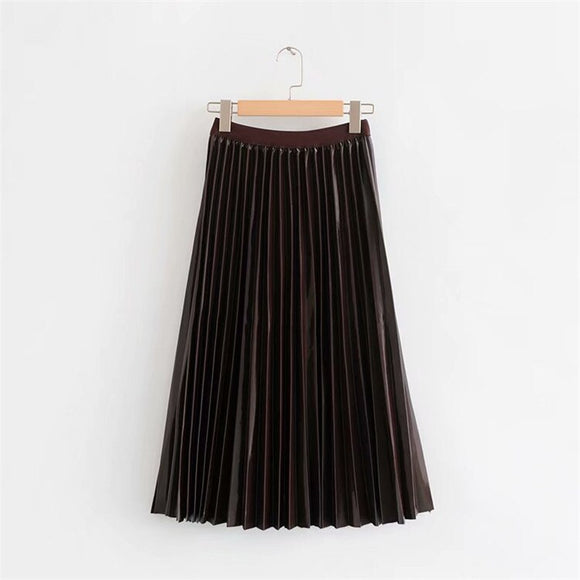 Elastic High-waisted Solid Color Skirts