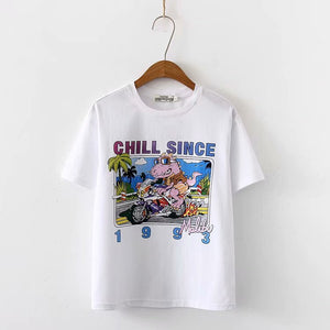 Fashion Animal Lettered Pattern T-shirt