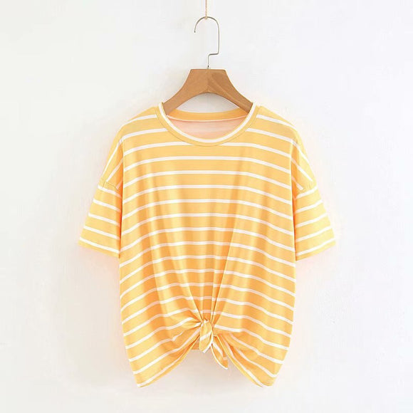 Pullover Loose-Fit Stripes Knotted T-shirt
