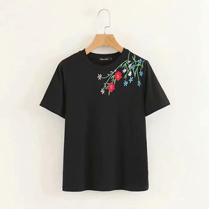 Korean-style Slim Fit Flower T-shirt