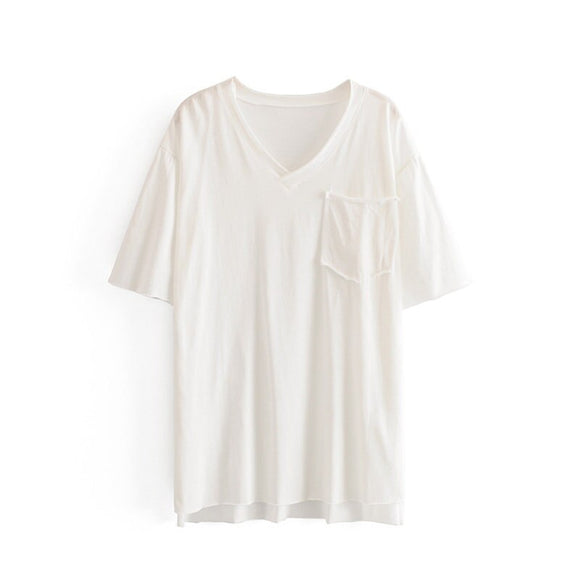 V-neck Mid-length T-shirt