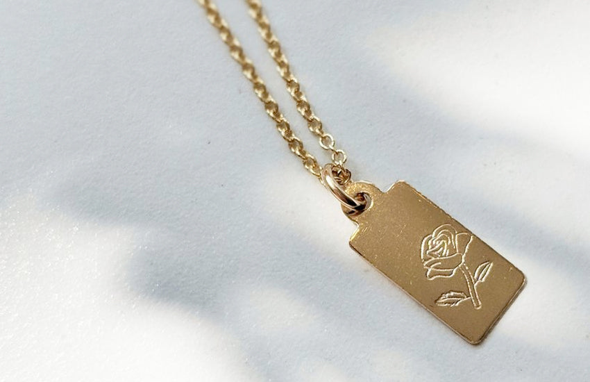 Rose Tag Necklace