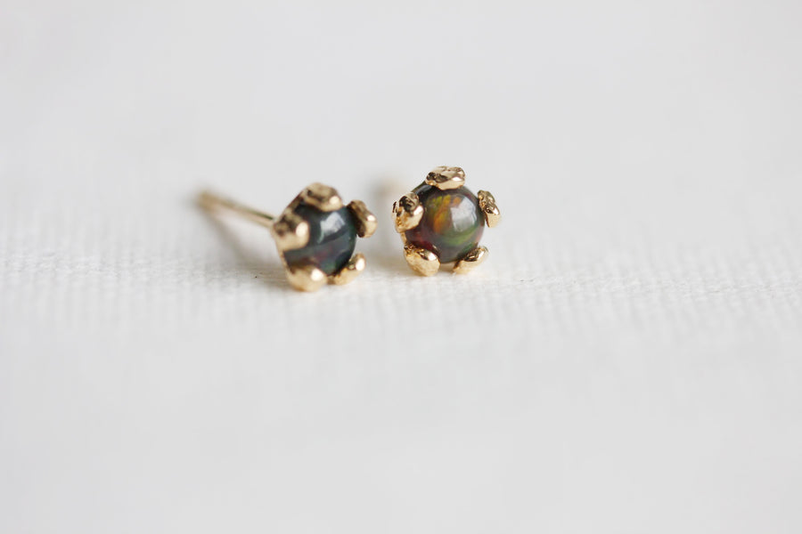 Tiny Black Opal Flower Studs